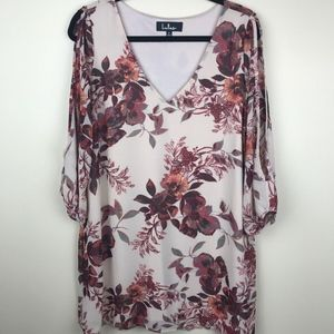 Lulus Floral Blouse Cold shoulder sheer V-Neck M